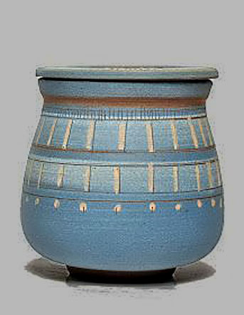E.C.T lidded ceramic vessel with engobes Buenos Aires, Argentina