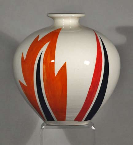 Echo-of-Deco-Art-Deco-Inspired-Hand-Thrown-&-Hand-Painted-Abstract-Design-baluster-Vase in orange, balck and white