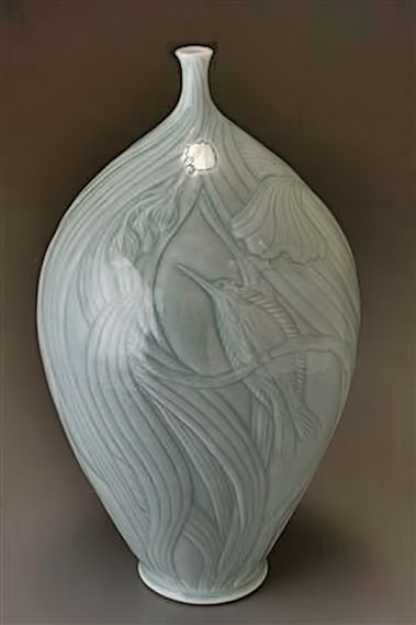 Elaine-Coleman-14x7-inches,-thrown-and-incised-porcelain,-light-blue-celadon-glaze