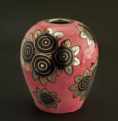 Alfred-Roullet-Renoleau pink, gold and black jazz age vase