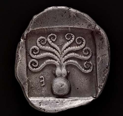 Ancent Greek-coin-with-octopus-from-Eretria,-c