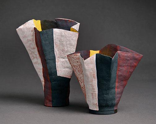 Helen_FullerHELEN-FULLER-Pleated-Bells,-2013-Hand-built-terracotta-coil-pots,-oxides,-white-slip