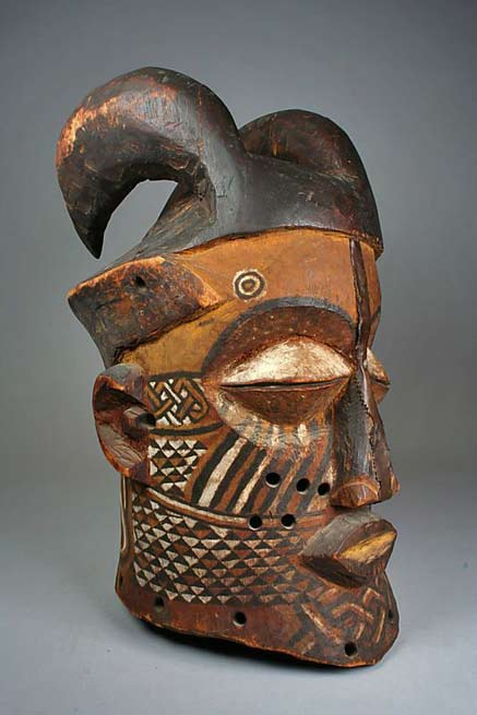 Helmet-Mask-(Nyachi)-from-the-Kuba-people-(Kete-group)-from-the-Sankuru-River-region-of-the-DR-Congo--Wood,-pigment,-copper-alloy-ca
