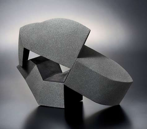 Interconnection-'15-3;-standing-geometric-connected-sculpture-and-spray-glazed-in-matte-blackish-brown by Fujino Sachiko