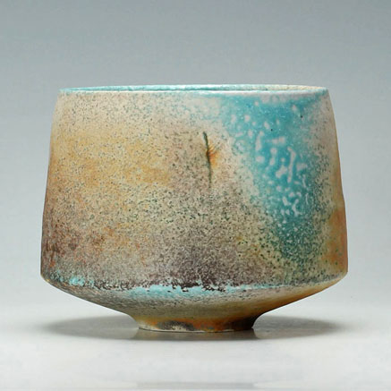 Jack Doherty soda fired porcelain bowl in turquoise and brown
