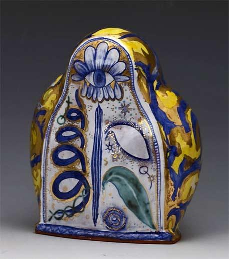 Liz-Quackenbush-2012 ceramic sculpture with snake and botanical motifs