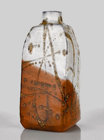 Marcello-Fantoni- Italian artist - Ceramic bottle with four facted sides
