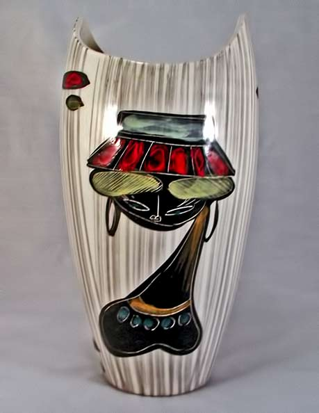 60's vase by Marcello Fantoni with female bust motif
