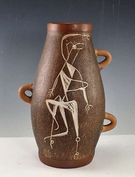 Mid-Century-Modern-Mexican-Art-Pottery-Sgraffito-Vase