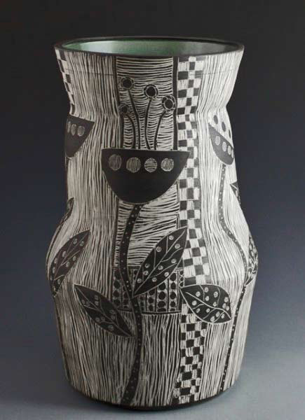 Patricia Griffin-Large Vase-FlowerPower-view2 Woodcut series