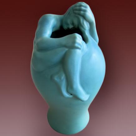 Rare-Turquoise Van-Briggle-Figural-Vase art nouveau woman