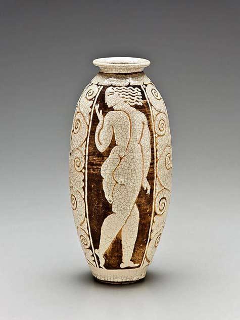 René-Buthaud-crackle glaze vase