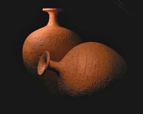 Russell-Akerman-Mesopatamia 2 bottles-Mesopotamian-Earthenware-Bottles