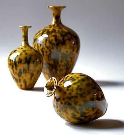 Russell-Akerman-amber speckled bottles-Amber-Sunrise-Speckled-Bottles