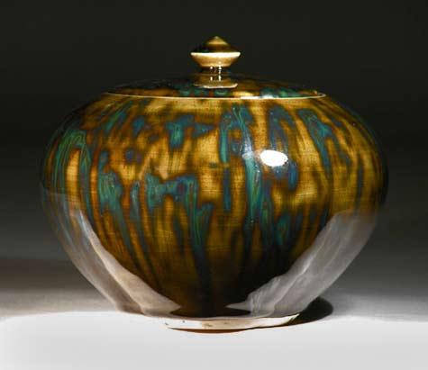 Russell-Akerman-olive speckle lidded tea jar