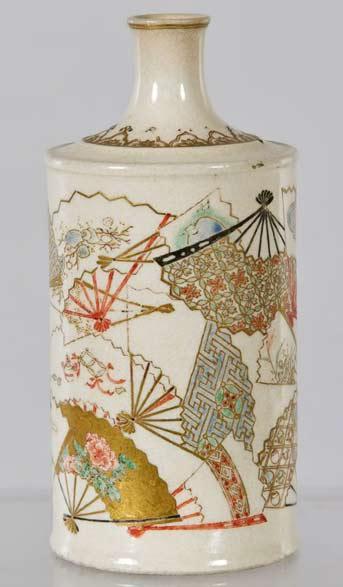 Satsuma-Pottery-cylindrical Bottle-Vase