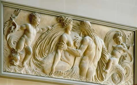 Sculptures---Louvre-Museum---Paris Nymph and Triton surrounded by two geniuses / Goujon, Jean