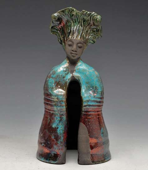 Standing-Buddha-Statue-in-Turquoise-Red-Copper-Raku