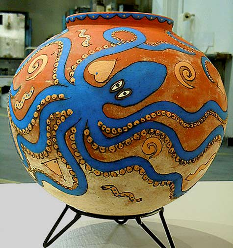 Ceramic mudka pt with blue octopus by Sue-Anderson