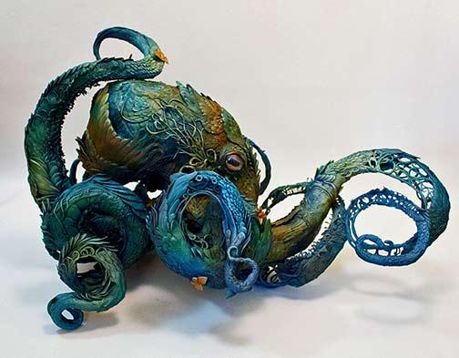 Ellen-Jewett-green and blue octopus sculpture