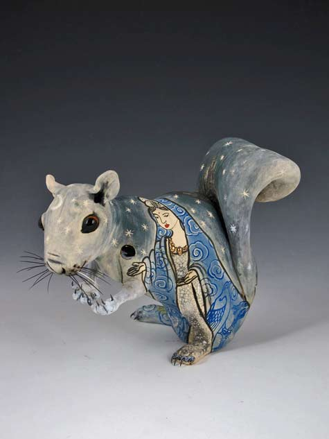 The-Dawn-of-compassion-ceramic,-underglaze,-glazes,-boars-hair-and-steel---- Joey Chiarello