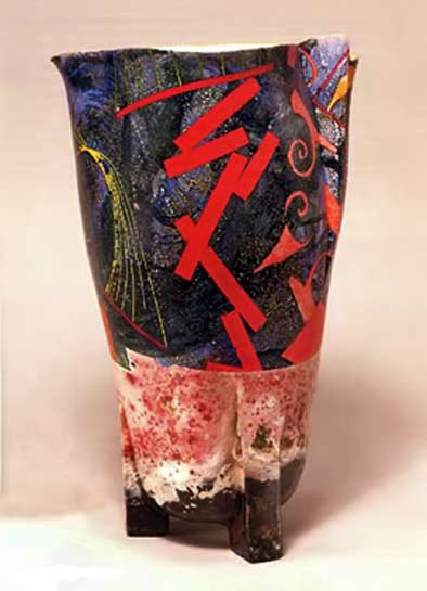 Bennett Bean - Untitled-(Drunken-Lily-Series),-1996 Earthenware,-pit-fired,-acrylic,-gold-leaf-interior-15x9