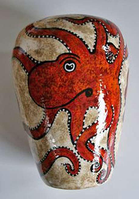 Red ceramic octopus Beth-Allison
