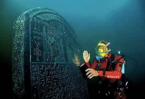 underwater ancient tablet--Egyptian