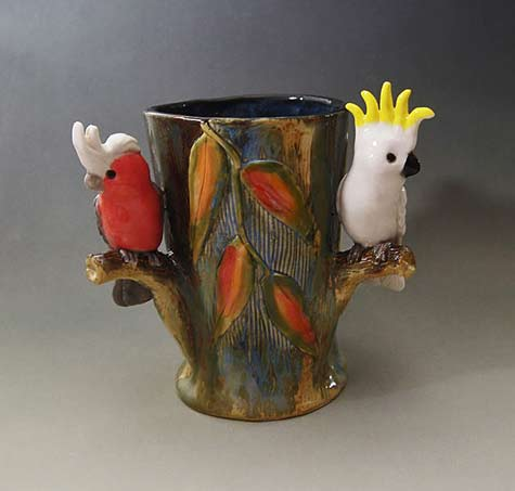 3 bird vase- Anita-Reay Gum leaves with Galah and cockatoo