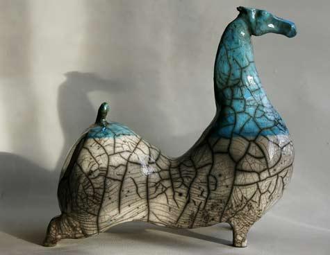 Ceramic-raku-horse by Ilona Jo
