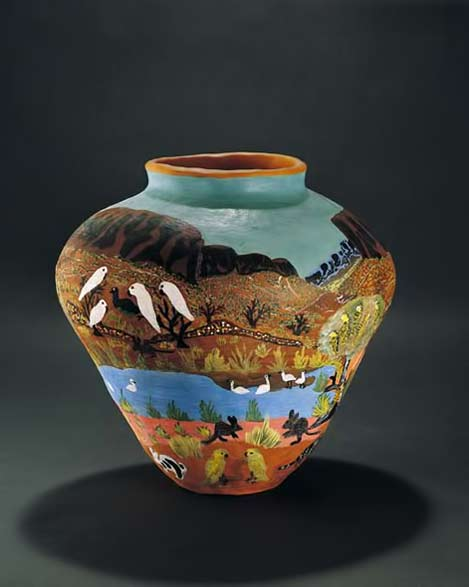 ENTATA,-Mrs;-HERMANNSBURG-POTTERS handpainted pot with landscape vista