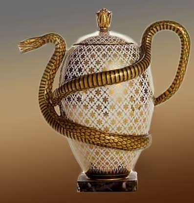 Egg-and-Snake-Teapot,-French,-Sèvres-Factory,-(1833)