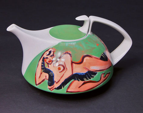 Elvira-Bach-teapot with nude lady and serpent motif