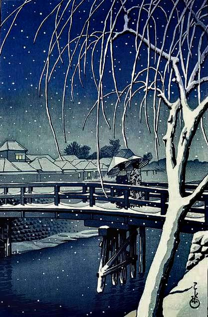 Evening-Snow-at-Edo-River'-1932-woodblock-print-by-Hasui-Kawase-by-Plum-leaves-on-Flickr