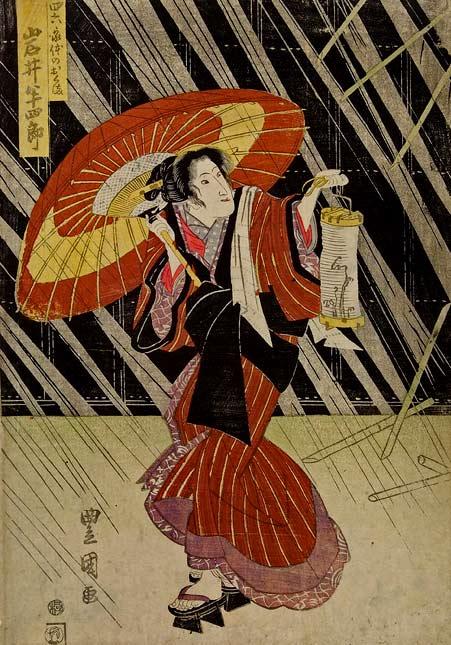 Genuine woodprint painting of geishas