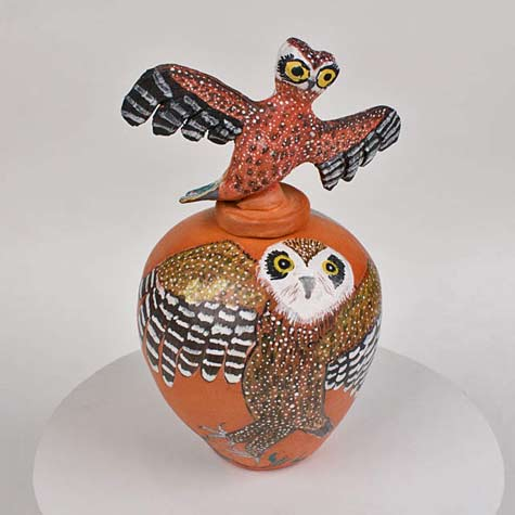 Hermannsburg-Potters-indigenous-art pottery with handpainted owl and owl figure lidterracotta-po