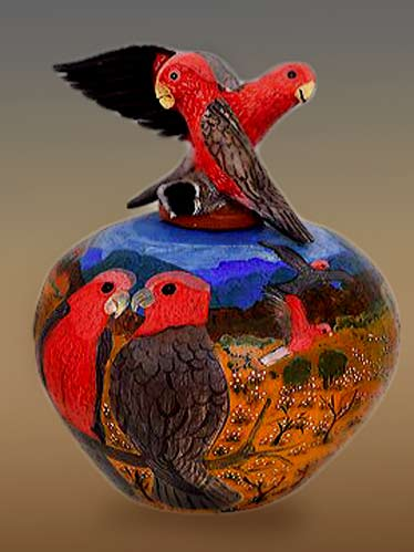 Hermannsburg-Potters pottery jar with red parrots