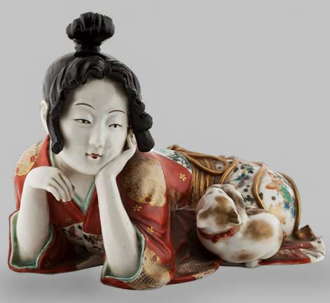 Kutani--Porcelain-Figure-of-a-Woman-with-Kitten,-circa-1870 - MEMPHIS-ONE-PL