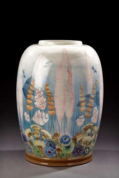 MANUFACTURE-NATIONAL-SÈVRES-decor-Marcel-PRUNIER-Important-vase-glazed-porcelain-decorated-in-polychrome-aquatic-motifs