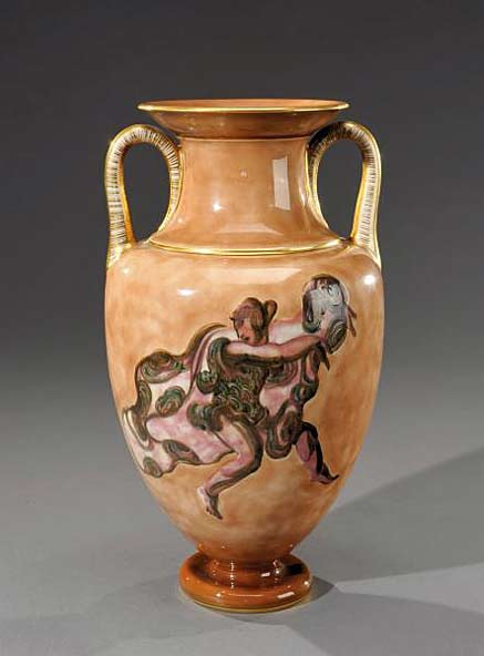 MANUFACTURE-NATIONALE-DE-SEVRES-and-MAYODON-JEAN-(1893-1967)vase-baluster-side-handles-polychrome-glazed-porcelain-decorated-with-a-round-of-dancers-nuanced-beige-background-accented-with-gold