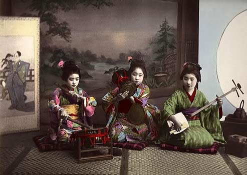 Miss Taiko, Miss Tzumi, Miss Samisen----Three Geisha playing music in Old Meiji- Era-Japan