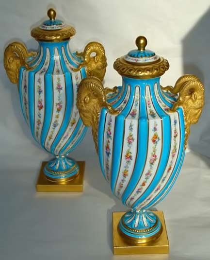 Mintons-'sevres'-lidded vases - turquoise with golden handles