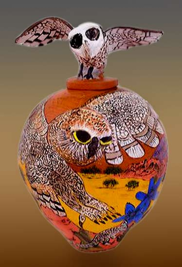 Owl-Lindy-Rontji - aboriginal pottery art