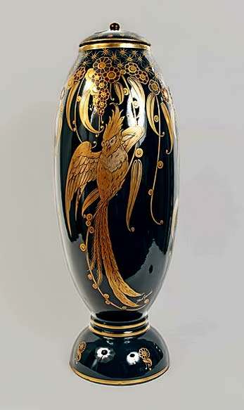 Rare-and-Important-Art-Deco-Vase-with-Gold-Leaf-Design-depicting-phoenix-by-the-French-Ceramicist-Pinon-Heuze-produced-by-Sevres.-Signed-Pinon-Heuze