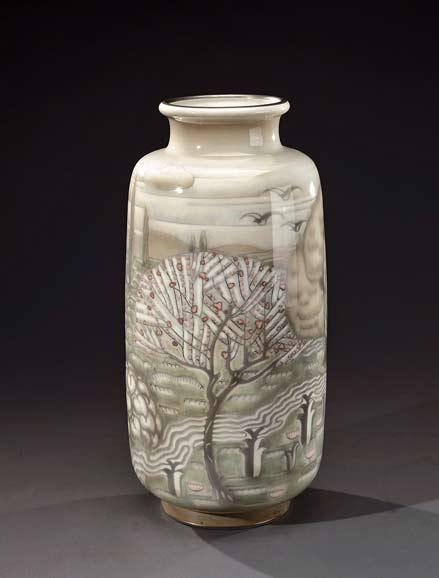 SÈVRES-NATIONAL-MANUFACTURE-decor-ADRIEN-LEDUC-glazed-ceramic-vase-depicting-a-stylized-garden