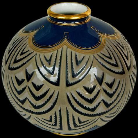 Sevres-Porcelain-Art-Deco-Vase globular vessel