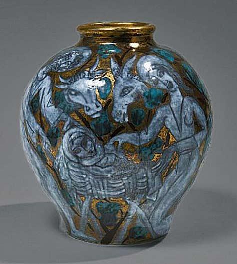 Edouard Cazaux ovoid vase with Jesus nativity scene