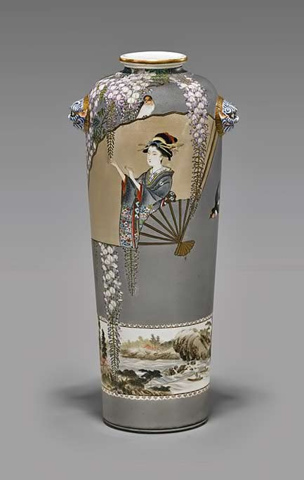 Unusual Kinkozan Satsuma vase with geisha fan motif, earthenware vessel of cylindrical form, with rounded shoulder