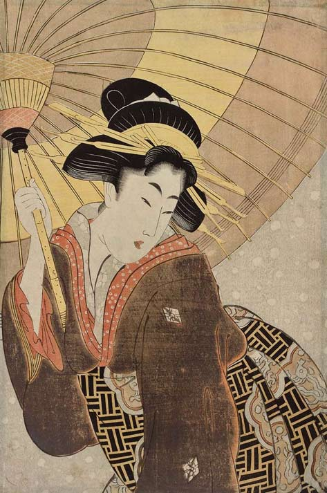 Woman-with-Umbrella-in-Snow-Artist-Unknown,-Japanese-Attributed-to-Kitagawa-Utamaro-I,-Japanese,-–1806-Japanese