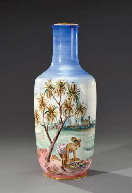 cylindrical-vase-with-high-collar-mounted-glazed-porcelain-lamp-depicting-a-boat-scene-in-full-color by Cheriane